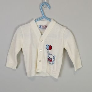 Blue Bird Vintage Teddy Bear Cardigan Size 6-9M